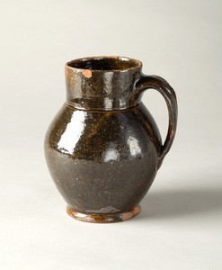 1916-02-1 small ceramic redware pitcher