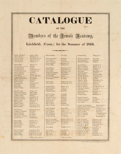 1816 litchfield female academy catalogue