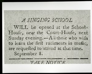 A singing school ad. sept. 8